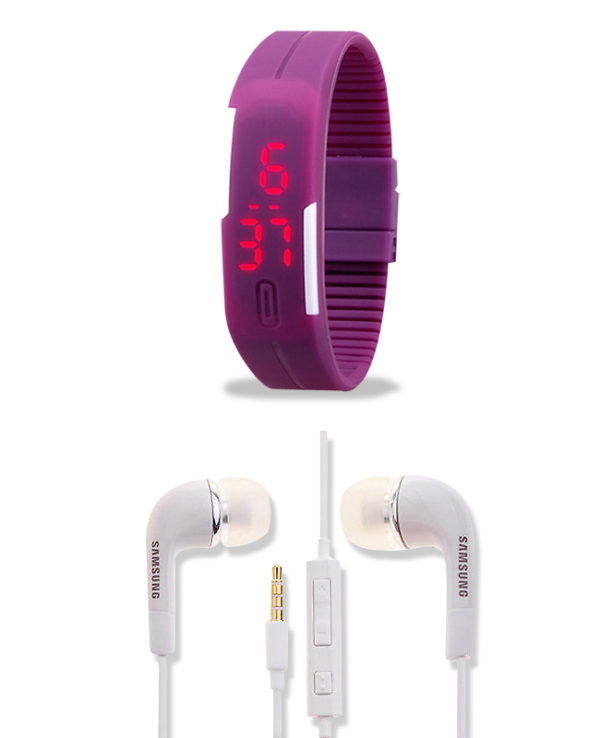 Branded Purple Silicone Band Watch and Samsung Earphone - Combo Pack of 2