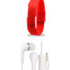 Stylish Red Silicone Band Watch and Vivo Earphone - Combo Pack of 2