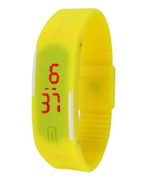 Sports Yellow Silicone Led Bracelet Band Watch for Girls